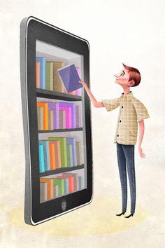 Digital Library / Biblioteca digital (ilustración de Óscar T. Pérez)