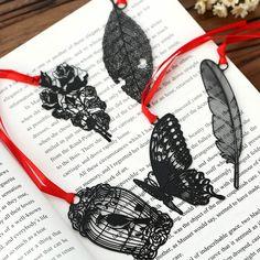 DIY Vintage Retro Metal Bookmark Black Bird Butterfly Flower Leaf Bookmark Gift Package Korean Stationery Free shipping 438