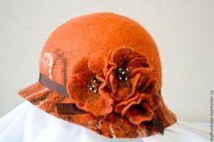 Купить Валяный клош Маки - валяние из шерсти, Валяние, клош, шляпа, шляпка, шляпка с цветами