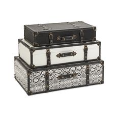 Aberdeen Storage Trunks - Set Of 3 - Help solve the number-one decorating conundrum facing consumers, lack of adequate storage, with a trio of storage trucks with leather and iron accents and plenty of vintage appeal.