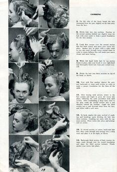 Vintage Hairstyles Retro Would you like to make these hairdos? These instructions that show both how to set the pin-curls and how to brush the hair. Vintage Hairstyles Tutorial, 1940s Hairstyles, Hairdos, Updos Hairstyle, Party Hairstyles, Long Hairstyles, Wedding Hairstyles, 1930s Hair, Historical Hairstyles