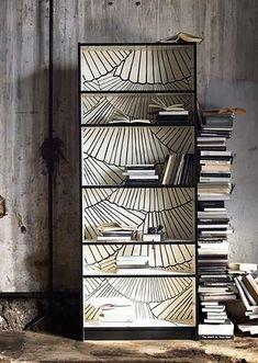 16 ideas diy shelves for books ikea billy for 2019 Wallpaper Furniture, Ikea Furniture, Wallpaper Bookshelf, Bedroom Wallpaper, Deco Furniture, Billy Ikea, Painted Bookshelves, Painting Bookcase, Art Deco