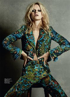Nadine Leopold by David Roemer for Marie Claire UK March 2015 louis vuitton silk velvet jacket pants