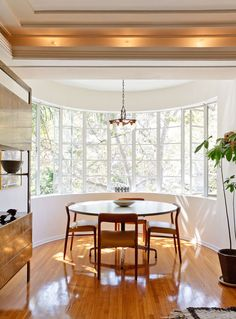 Do you have wood floors that have seen a bit of abuse or been hiding under carpet for years? You can refinish them yourself for just a couple hundred dollars. Refinish Wood Floors, Hardwood Floors, Pine Floors, Streamline Moderne, Table And Chairs, Nook Table, Wooden Chairs, Dining Chairs, Architecture