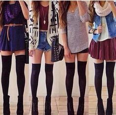 Outfits with over the knee socks // hipster outfits hipster fashion Tumblr Outfits, Hipster Outfits, Hipster Fashion, Mode Outfits, Girly Outfits, Look Fashion, Teen Fashion, Autumn Fashion, Casual Outfits