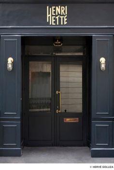 Black doors, gold lights