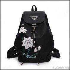 Creative Women's Lotus Printed Nylon Flower School Backpack #bag #Backpack #school Sling Backpack Purse, Backpack Travel Bag, Backpack For Teens, Fashion Backpack, Travel Bags, Retro Backpack, Studded Backpack, Floral Backpack, Vintage Backpacks