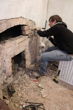 Uncovering a Victorian Chimney Arch - Kezzabeth Wood Burning Stoves Uk, Wood Burner, Gas Fireplace, Arch, Home And Garden, Victorian, Outdoor Decor, Diy, Living Room