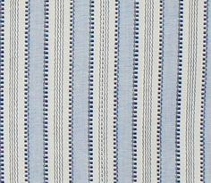 """""""Regatta Stripe, Blue"""" 54"""" wide 100% Cotton $29.95 $19.95 per yard  QTY:   buy a $1.50 swatch of this fabric  By Laura & Kiran a beautiful, yarn dyed stripe in soft powdery blue, denim and ivory cream. Made of 100% cotton and weighs  12.5 oz or 350 grams per linear yard. Perfect for cushions, pillows, some top of bed accents, curtains, roman shades, shower curtains and more. Made in India. Manufacturer recommends dry cleaning."""