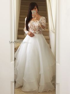 dresses plus size Exclusive Beaded Wedding Dress with Illusion Nude Top, Long Sleeves Long Sleeve Wedding Dress Boho, Plus Wedding Dresses, Western Wedding Dresses, Wedding Dress Chiffon, Bridal Dresses, Gown Wedding, Lace Wedding, Wedding Cakes, Wedding Rings