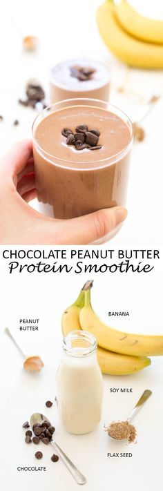 Super Easy 5 Minute Chocolate Peanut Butter Protein Smoothie. A healthy smoothie that tastes like dessert! The perfect way to start your day. | chefsavvy.com #recipe #chocolate #protein #smoothie