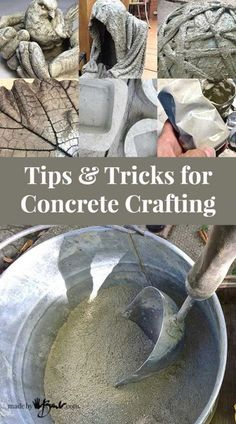 Tips and Tricks for Concrete Crafting. Tips and instructions to make concrete crafting easy. With several links to concrete projects.After reading this I think my next sculpture idea will be done with concrete! Tips and Tricks for Concrete Crafting - Concrete Cement, Concrete Crafts, Concrete Design, Concrete Casting, Cement Garden, Diy Concrete Planters, Concrete Stepping Stones, Concrete Jewelry, Wall Planters