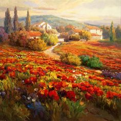 Roberto Lombardi~ Poppy Fields In Tuscany