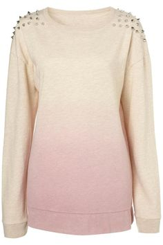 Pink Gradient Rivet Shoulder Round Neck Sweatshirt - wow, this is fun. A good mix of girly feminine with a wild twist - studs!