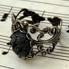 Snowflake+Obsidian+and+Silver+Ring+by+ragtrader+on+Etsy,+$17.00