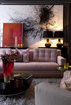 Wow I Love The Design And Color Of This Room Pink Sofa With Bold Art In Interior 2017 Decorating Before After
