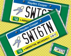 Sweet 16 Boy Birthday Ideas: Custom HERSHEY'S chocolate bars with license plate theme for sixteen year old boy who just got his license! #boybirthday #birthdayfavors #candyfavors