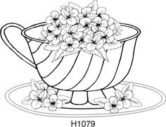 Violet Teacup Rubber Stamp by DRS Designs Art Drawings Sketches Simple, Easy Drawings, Teacup Tattoo, Coloring Pages, Colouring, Adult Coloring, Tea Party Invitations, Coffee Cards, Wood Burning Patterns