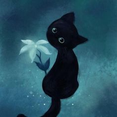Cute black kitten with flower painting cross crafts, craft kits, cat art, cross Black Cat Art, Black Cats, Black Cat Drawing, Black Kitty, Black Cat Painting, Kitten Drawing, Image Chat, Gatos Cats, Crazy Cats