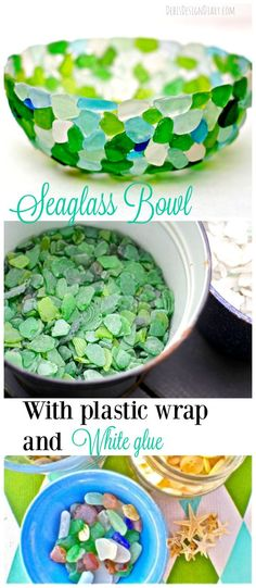 how to make a sea glass bowl with plastic wrap and white glue: