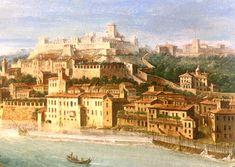 Antonio Joli (1700 1777) - Il Castello Visconteo  sul colle San Pietro - VERONA    Il colle dei musei -