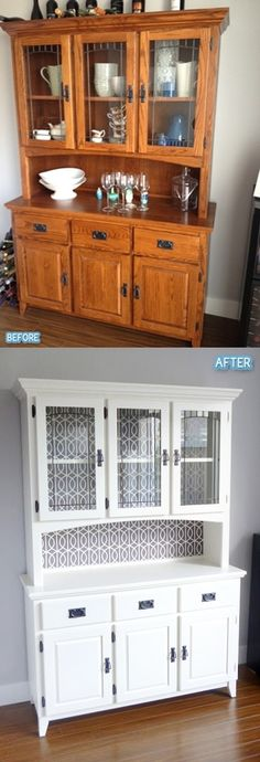 10 Most Beautiful Antique China Cabinet Makeover Ideas – Ideen Refurbished Furniture, Paint Furniture, Repurposed Furniture, Furniture Projects, Furniture Makeover, Antique Furniture, Diy Projects, Space Furniture, Kitchen Furniture