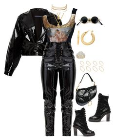 A fashion look from October 2017 featuring mini jacket, vinyl pants and floral booties. Browse and shop related looks. Boujee Outfits, Kpop Fashion Outfits, Stage Outfits, Winter Fashion Outfits, Cute Casual Outfits, Polyvore Outfits, Look Fashion, Stylish Outfits, Womens Fashion