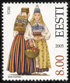 Türi,Estonian folk costumes by Mari Kaarma,, stamp from Estonia, 2005.