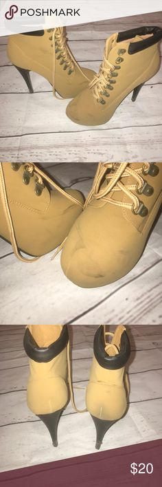 High Heel Boots Camel color high heels boots gently worn with scuffs as shown in picture, comes with original shoe lace Forever Shoes Ankle Boots & Booties