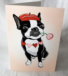 Romantic Boston Terrier Greeting Cars via Etsy   $5.50
