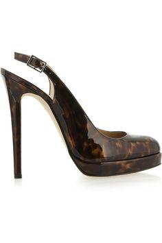 Oscar de la RentaTortoiseshell-effect patent-leather slingbacks