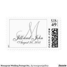 Monogram Wedding Postage Stamps White Grey