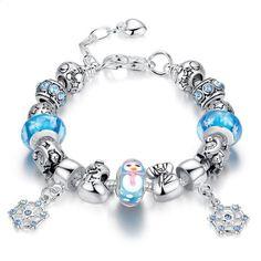 Christmas Glass beads Snowflakes Bracelet