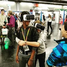 An awesome Virtual Reality pic! #virtualreality #smiling #dudes in #motion and #positive #emotion ;-) - #virtual #reality #zeiss #vrone #vr #careers #deutschebahn #db #hiring #recruitment #innovation #jobs #world by flowurzer check us out: http://bit.ly/1KyLetq