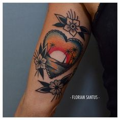 Sunset in heart by Floral Santus Traditional Nautical Tattoo, Traditional Tattoo, Flower Tattoo Foot, Flower Tattoo Shoulder, Mini Tattoos, Cool Tattoos, Tatoos, Awesome Tattoos, Tattoo Sleeve Designs