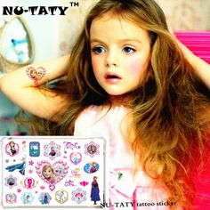 NU-TATY Froze Elsa Anna Temporary Tattoo Stickers Kids 17*10cm Waterproof Princess Stickers Tatoo For Children prince