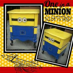 Minion Nightstand from Re-D-Fined Furniture Minion Nursery, Minion Bedroom, Kids Bedroom, Bedroom Decor, Bedroom Ideas, Bedroom Night, Minions Diy, Minion Craft, Minions Despicable Me