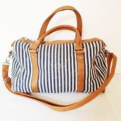 Nautical Bag Blue and white stripped, strap and handles in excellent condition Bags Satchels