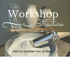 20 okt 2015 workshop structure paint  €25 incl materiaal en een hapje en drankje! Voor info kijk op facebook bij Restyle het Verleden