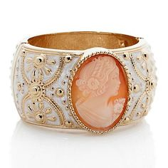 """Amedeo NYC® """"La Piazzetta"""" 40mm Cameo and Enamel Hinged Bangle Bracelet at HSN.com."""