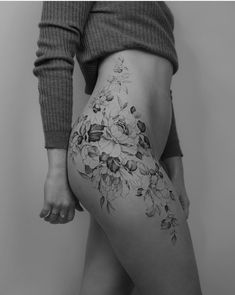 y post got deleted because of the butt shot so here it is again. Side Tattoos, Cover Up Tattoos, Body Art Tattoos, Sleeve Tattoos, Side Leg Tattoo, Floral Thigh Tattoos, Feminine Tattoos, Flower Tattoos, Tiny Tattoos For Girls