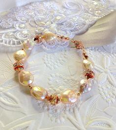Bridal Pearl BraceletNatural Champagne Coin by SUSANsBAUBLES