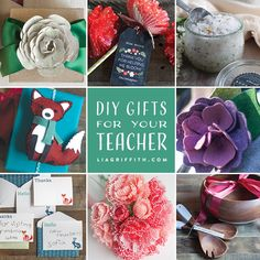 Lots of perfect ideas for handmade teacher appreciation gifts from wall art to printable notecards and paper flowers.