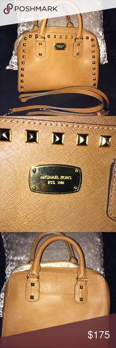 Michael Kor Stud Handbag (Authentic) Stud Satchel Leather MK Handbag Condition:  -Brand new condition.  -No stain.  -No rips.  -No burn.  (Nothing is wrong with it. Only used 2 time only.) -Strap is with it. (Strap in in great condition) KORS Michael Kors Bags Crossbody Bags