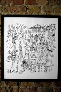 hand drawn print of London, a1 print of london, hand drawing of london, london kills me, london kills me cushion, london kills me print of london, famous sites of London, london landmarks.