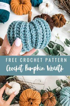 Crochet Fall Decor, Crochet Wreath, Holiday Crochet, Crochet Home, Diy Crochet, Crochet Crafts, Crochet Projects, Autumn Crochet, Thanksgiving Crochet