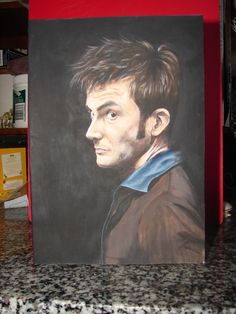 A painting of David Tenant as Doctor Who, made as a birthday card for a friend of mine.