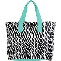 Ame & Lulu Land to Sand Beach Tote - Black Shutters - All Purpose... ($64) ❤ liked on Polyvore featuring bags, handbags, tote bags, blue, zip tote bag, blue purse, zip beach bag, zippered beach bag and zip tote
