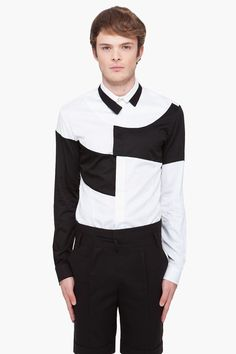 Black + White color block shirt