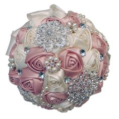 Abbie Home Advanced Customization Romantic Bride Wedding Holding Toss Bouquet Rose with Pearls and Rhinestone decorative brooches Accessories-Multi color selection (Pink) * Be sure to check out this awesome product. (This is an affiliate link) #HomeDecoration